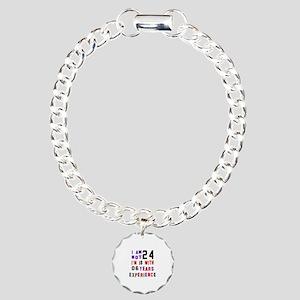 24 Birthday Designs Charm Bracelet, One Charm