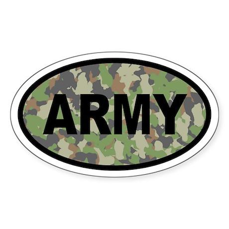 Camo ARMY Oval Sticker