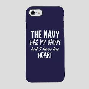 Navy Daddy's Heart iPhone 8/7 Tough Case