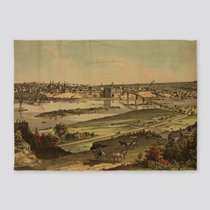 Vintage Pictorial Map of St. Paul M 5'x7'Area Rug