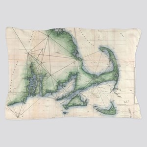 Vintage map of the Massachusetts Coast Pillow Case