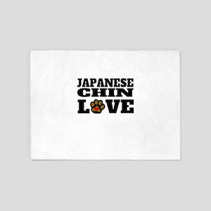 Japanese Chin Love 5'x7'Area Rug