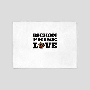 Bichon Frise Love 5'x7'Area Rug