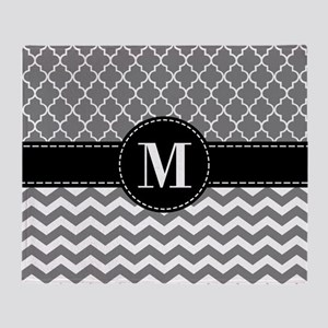Black Gray Chevron Monogram Throw Blanket