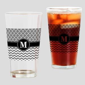 Black Gray Chevron Monogram Drinking Glass