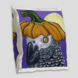 African Grey Parrot Halloween Pumpkin Burlap Throw