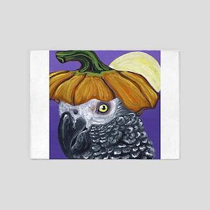 African Grey Parrot Halloween Pumpkin 5'x7'Area Ru