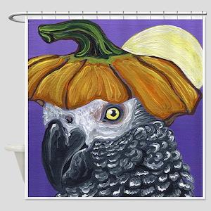 African Grey Parrot Halloween Pumpkin Shower Curta