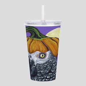 African Grey Parrot Halloween Pumpkin Acrylic Doub
