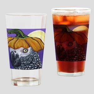 African Grey Parrot Halloween Pumpkin Drinking Gla