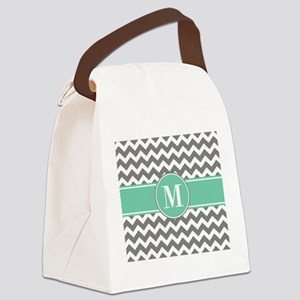 Gray and Teal Chevron Monogram Canvas Lunch Bag