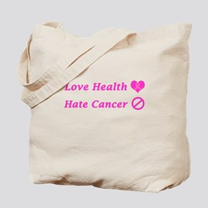 Love Health, Hate Cancer Charity Design Tote Bag