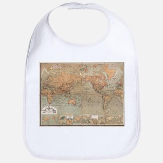 Vintage Map of The World (1870) Bib