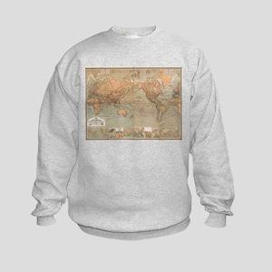 Vintage Map of The World (1870) Kids Sweatshirt