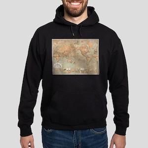 Vintage Map of The World (1870) Hoodie (dark)