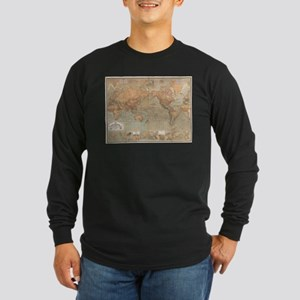 Vintage Map of The World (1870 Long Sleeve T-Shirt