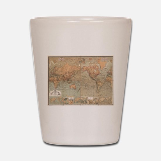 Vintage Map of The World (1870) Shot Glass