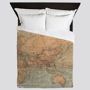 Vintage Map of The World (1870) Queen Duvet