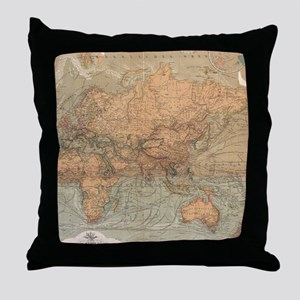Vintage Map of The World (1870) Throw Pillow
