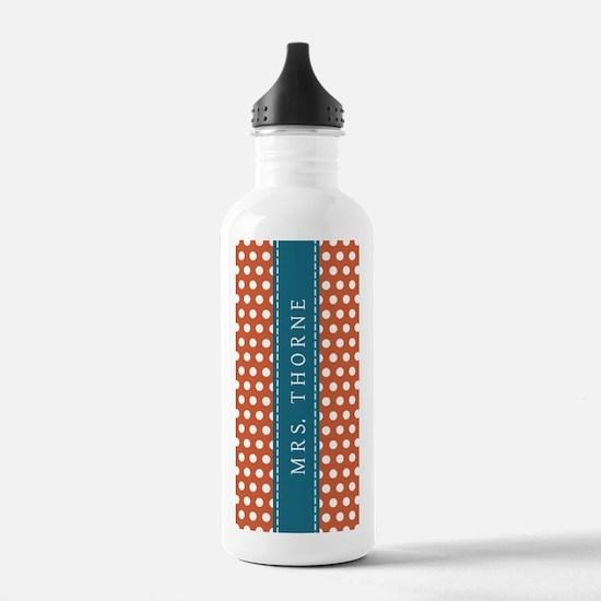 Orange Polka Dots - Pe Water Bottle