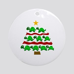 Fun Turtle Christmas Tree Art Round Ornament