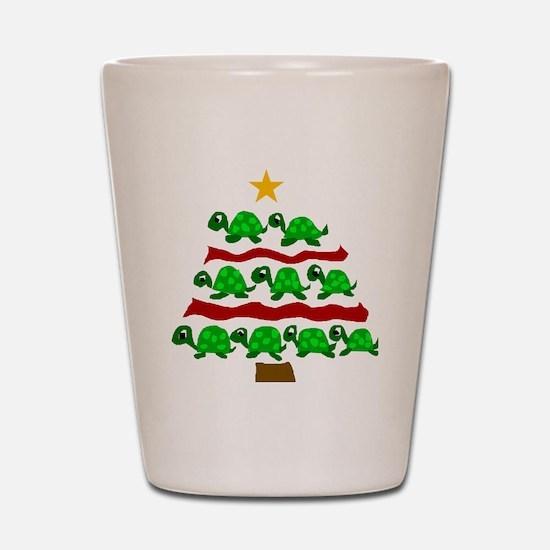 Fun Turtle Christmas Tree Art Shot Glass