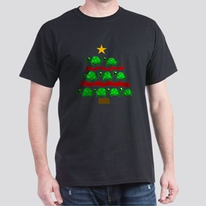 Fun Turtle Christmas Tree Art Dark T-Shirt