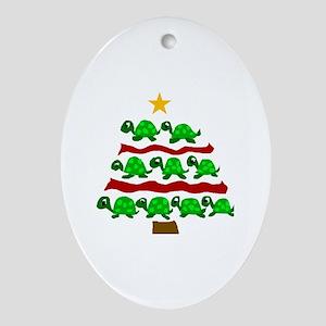 Fun Turtle Christmas Tree Art Oval Ornament