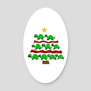 Fun Turtle Christmas Tree Art Oval Car Magnet