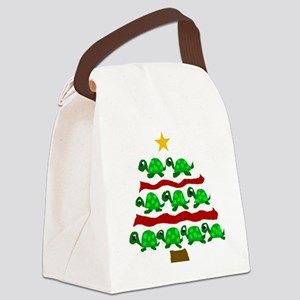Fun Turtle Christmas Tree Art Canvas Lunch Bag