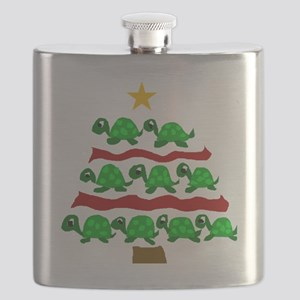 Fun Turtle Christmas Tree Art Flask