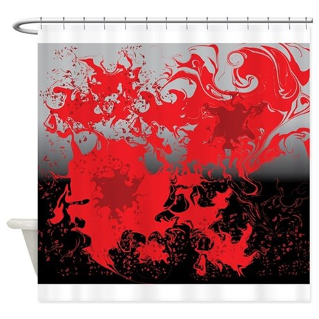 red swirls on a black and gray back shower curtain by admin cp119135932. Black Bedroom Furniture Sets. Home Design Ideas