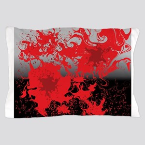 Red swirls on a black and gray backgro Pillow Case