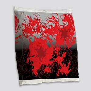 Red swirls on a black and gray Burlap Throw Pillow