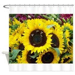 Bee Dance On A Sunflower Day Shower Curtain