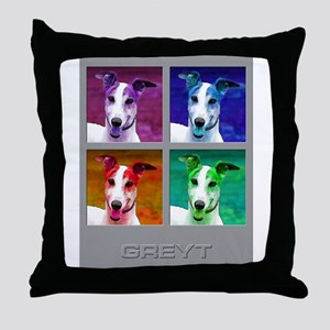 Greyhound Homage to Warhol Throw Pillow