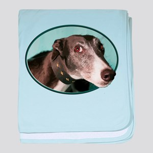 Guilty Greyhound in Oval baby blanket