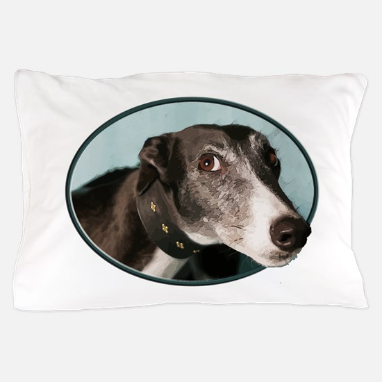 Guilty Greyhound in Oval Pillow Case