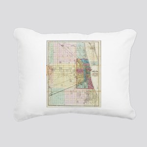 Vintage Map of Chicago ( Rectangular Canvas Pillow
