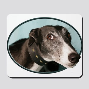 Guilty Greyhound in Oval Mousepad