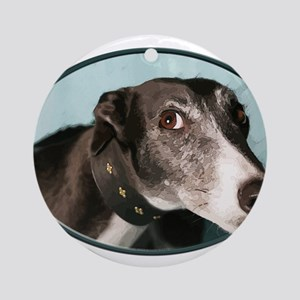 Guilty Greyhound in Oval Round Ornament