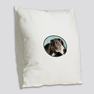 Guilty Greyhound in Oval Burlap Throw Pillow
