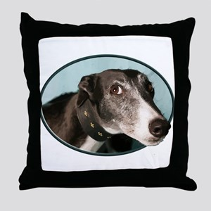 Guilty Greyhound in Oval Throw Pillow