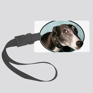 Guilty Greyhound in Oval Large Luggage Tag