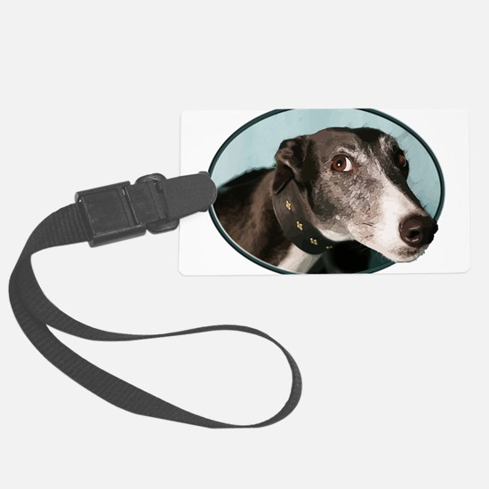 Guilty Greyhound in Oval Luggage Tag