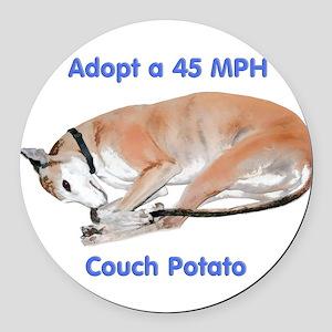 45 MPH Couch Potato Round Car Magnet