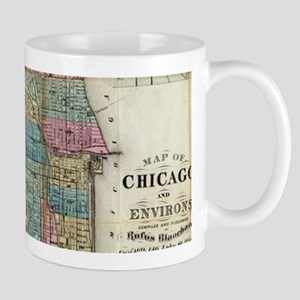 Vintage Map of Chicago (1869) Mugs