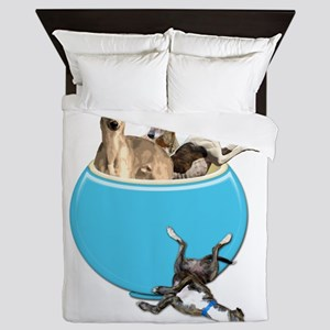 Greyhounds Like Potato Chips Queen Duvet