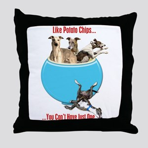 Greyhounds Like Potato Chips Throw Pillow