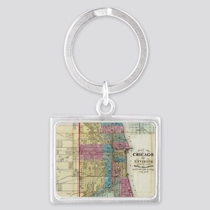Vintage Map of Chicago (18 Keychains